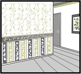 1区分内に同じ防火性能の数種類の 壁紙を張り合わせた場合